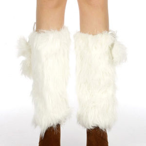 Faux fur boot covers cuff with satin liner